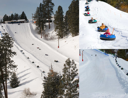 Affordable family winter getaway: Families enjoying the Winter Tubing at Bogus Basin in Boise, Idaho