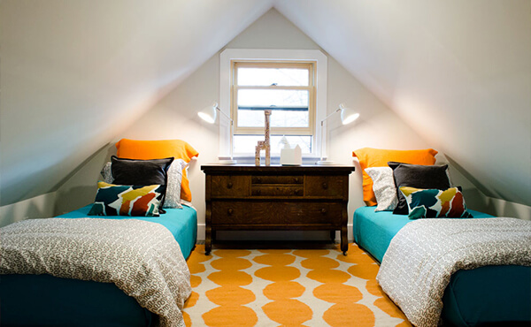 Affordable family winter getaway: Twin Beds for kids in the Attic Suite at the Boise Guest House is Boise, Idaho